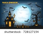 happy halloween background with ... | Shutterstock .eps vector #728127154