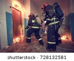 firemans team during... | Shutterstock . vector #728132581