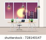 office with work desk and... | Shutterstock .eps vector #728140147