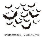 hallowen flying bats... | Shutterstock .eps vector #728140741