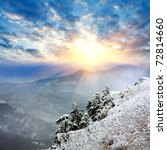 Landscape with winter evening in mountains - stock photo