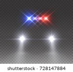 headlights flares and siren... | Shutterstock .eps vector #728147884
