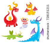 set of funny dragon character ... | Shutterstock .eps vector #728151211