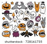 halloween set of patches with... | Shutterstock .eps vector #728161735
