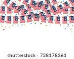 malaysian flags garland white...   Shutterstock .eps vector #728178361