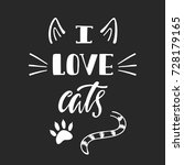 i love cats. handwritten... | Shutterstock .eps vector #728179165