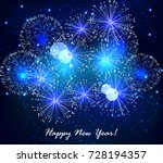abstract new year's fireworks | Shutterstock .eps vector #728194357
