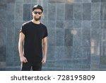 hipster handsome male model... | Shutterstock . vector #728195809
