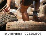 mud race runners  tries to make ... | Shutterstock . vector #728203909