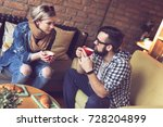 two people sitting in a cafe ... | Shutterstock . vector #728204899