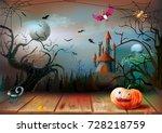 halloween night on the... | Shutterstock .eps vector #728218759