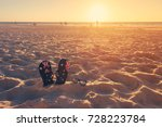 thongs and sunglasses in sand... | Shutterstock . vector #728223784