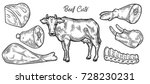 beef cow meat cuts  parts  chop ... | Shutterstock .eps vector #728230231