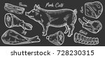 pig  pork meat ham cuts  parts  ... | Shutterstock .eps vector #728230315