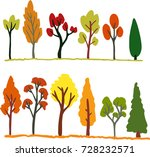 colorful hand drawn vector fall ... | Shutterstock .eps vector #728232571