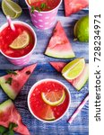cold watermelon drink with... | Shutterstock . vector #728234971
