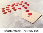 envelope from craft paper with... | Shutterstock . vector #728237155