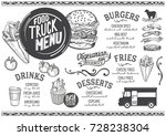 food truck menu for street... | Shutterstock .eps vector #728238304
