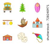 happy childhood icons set.... | Shutterstock .eps vector #728240971