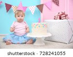 cute little girl with delicious ... | Shutterstock . vector #728241055