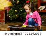 beautiful little girl with a... | Shutterstock . vector #728242039