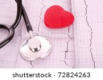 stethoscope on ecg and red heart   Shutterstock . vector #72824263
