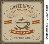 coffee house retro background.... | Shutterstock .eps vector #728245885