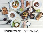 healthy breakfast with friends  ... | Shutterstock . vector #728247364