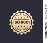 iso 9001 badge  gold label | Shutterstock .eps vector #728248579