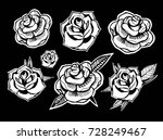 set of roses. old school tattoo ... | Shutterstock .eps vector #728249467