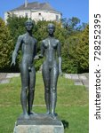 """Small photo of PIDHIRTI UKRAINE 09 04 17: Adam & Eve statue in Pidhirtsi Castle is one the third castle in the """"Golden Horseshoe"""", a ring of 3 castles: Pidhirtsi and 2 above-mentioned Zolochiv and Olesko Castles."""