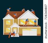 roof construction worker repair ... | Shutterstock . vector #728260807