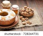 homemade traditional fruit cake ... | Shutterstock . vector #728264731