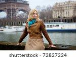 beautiful blonde woman in paris ... | Shutterstock . vector #72827224