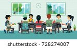 Stock vector students are having lunch in the school cafeteria 728274007