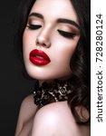 beautiful woman portrait. young ... | Shutterstock . vector #728280124