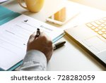 businessman reading resume... | Shutterstock . vector #728282059