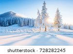 colorful winter panorama in the ... | Shutterstock . vector #728282245