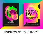 festival electro pop poster.... | Shutterstock .eps vector #728289091