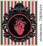 gothic card with pink anatomic... | Shutterstock .eps vector #728291614