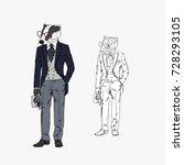 badger dressed up in vintage... | Shutterstock .eps vector #728293105