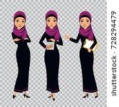 set of arab business women... | Shutterstock .eps vector #728294479
