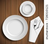 set of ceramic plates and... | Shutterstock .eps vector #728310121