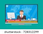 modern flat screen tv with news ... | Shutterstock .eps vector #728312299