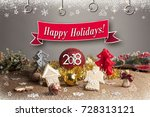 christmas background with... | Shutterstock . vector #728313121