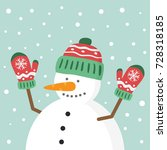 happy snowman character with... | Shutterstock .eps vector #728318185
