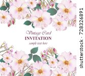 Stock vector wedding invitation card vector delicate rose and lavender flowers primrose pink color 728326891