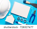 construction tools and notebook ... | Shutterstock . vector #728327677