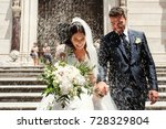 people throw rice on newlyweds... | Shutterstock . vector #728329804