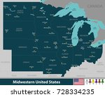 vector map of midwestern united ... | Shutterstock .eps vector #728334235